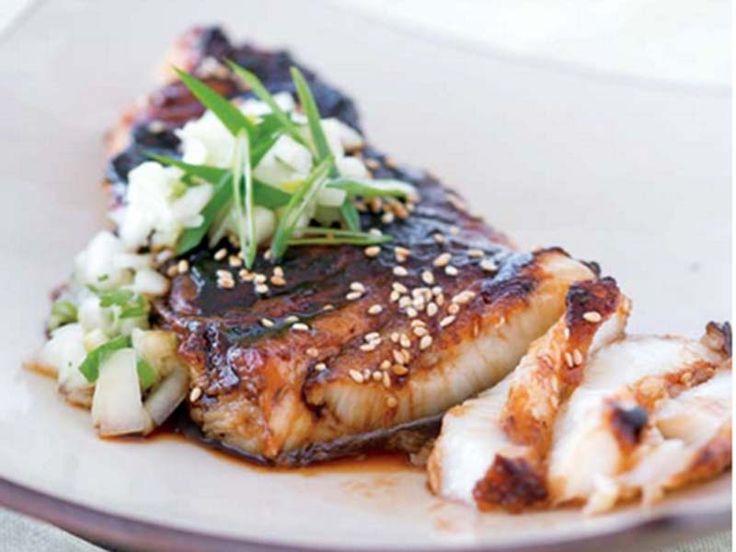 Corvina sea bass with soy glaze and cucumber salsa pan for Corvina fish recipes