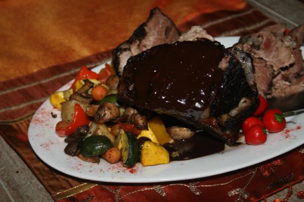 Springbuck Roast with dark chocolate and chilli with sautéd fresh vegetables