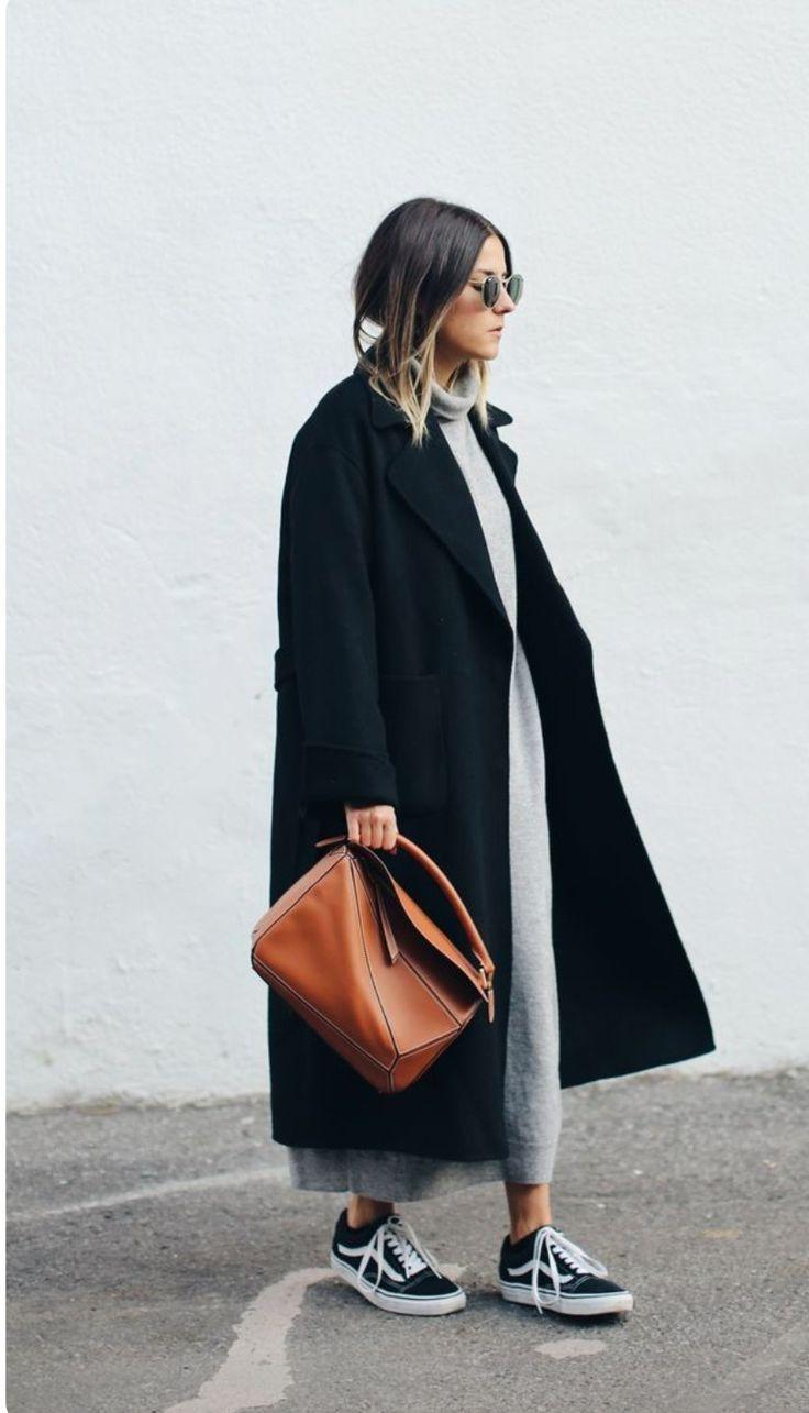 Long black coat, iconic Lowe bag, grey midi dress and classic Vans - fab 1