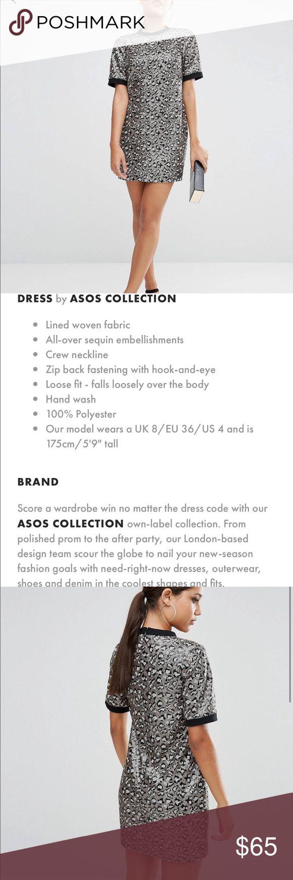 ASOS animal print sequin dress ❤ Worn 1x.  Great party dress.  Animal print sequin material. Make an offer!!! ASOS Dresses Mini