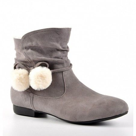 b8cd7962c04077 Chaussures chaudes FEMME BottInes Boots fourrées avec pompons Chaussures  Chaudes, Talons Plats, Chaussure Femme