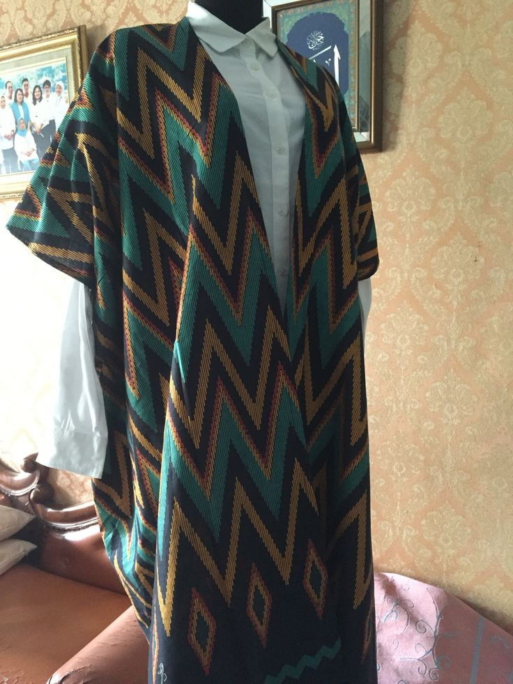 navy zigzag tenun pattern outer