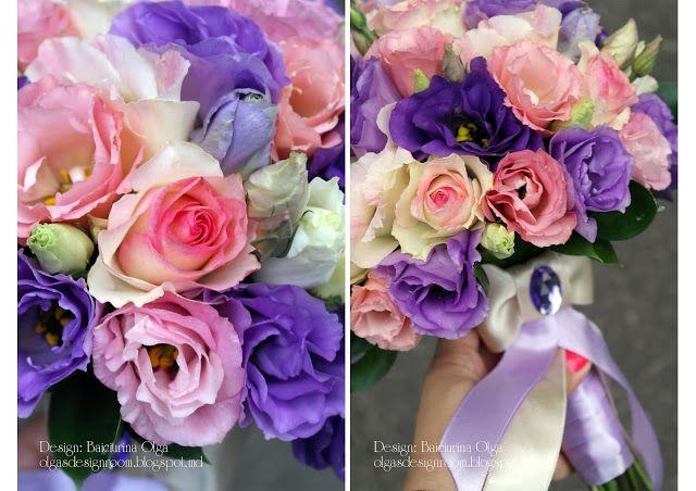 Baiciurina Olga's Design Room: Розово-фиолетовый букет невесты-Pink&violet wedding bouquet