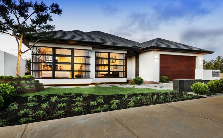 Japanese styled home- horizontal dark framed windows, angled gutters.  The Azumi | Webb & Brown Neaves