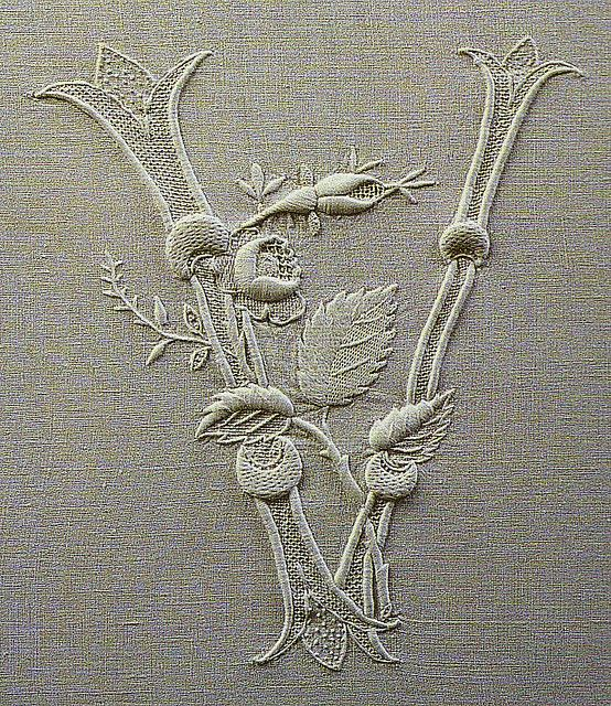 Embroidered initial from long out of print Italian book from Townmouse, via Flickr