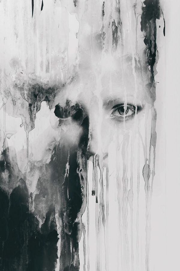 This is an interesting mix between a photo of a face and dripping water on a wall. The face blends beautifully in with the drippings. The smudges on the face add the final touches the face needed to match.