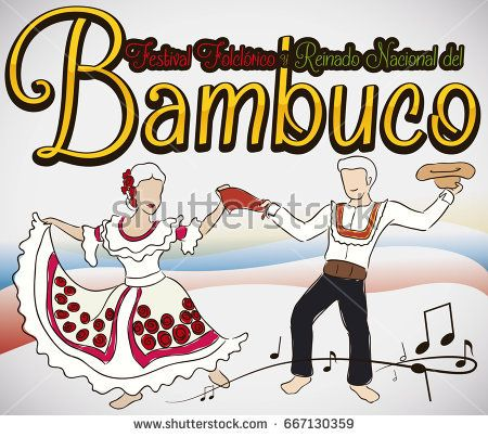 Poster with couple dancing the traditional Bambuco dance in the Colombian Bambuco Pageant and Folkloric Festival (written in Spanish).