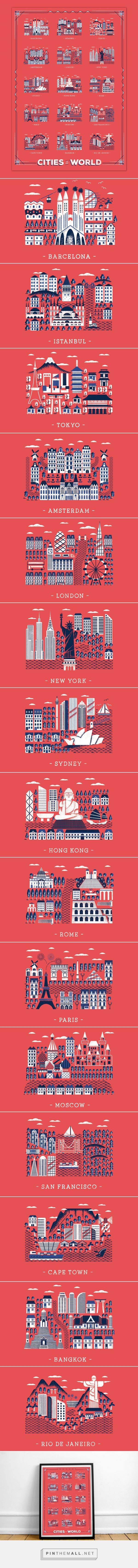 Daniele Simonelli was commisoned by the London based app Great Little Place to design a poster with 15 cities from around the world, focusing on their main buildings and landmarks. You can buy this poster on their store.
