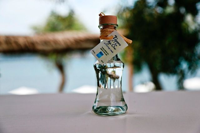 Homemade tsipouro by the beach in Halkidiki, Greece