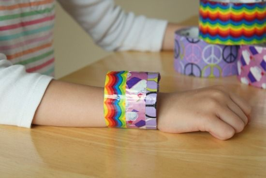 Colorful 3M Duct tape bracelet by @Marie - Make and Takes