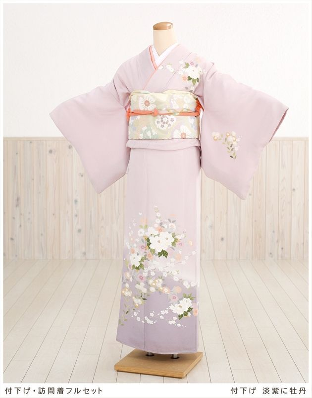 "With lowering Houmongi rental pale peony in purple [full set] ""rental with lower"" ""kimono rental"" ""shrine rental"" [Fusage] [costumer] [entrance ceremony] [graduation ceremony] [graduation ceremony] [ceremony ] [wedding] [seven hundred fifty-three] [silk] [cheap] ★ round trip free shipping ★ [smtbk] [kb]"
