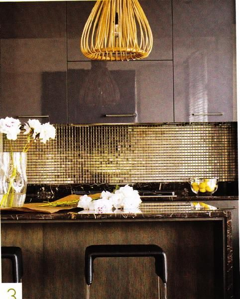 Too glam for our space (maybe), but nice use of shiny surfaces to bounce light about a dark space.  There's a lot a like about this!  from Attractive Kitchen Tile Backsplash | Decozilla