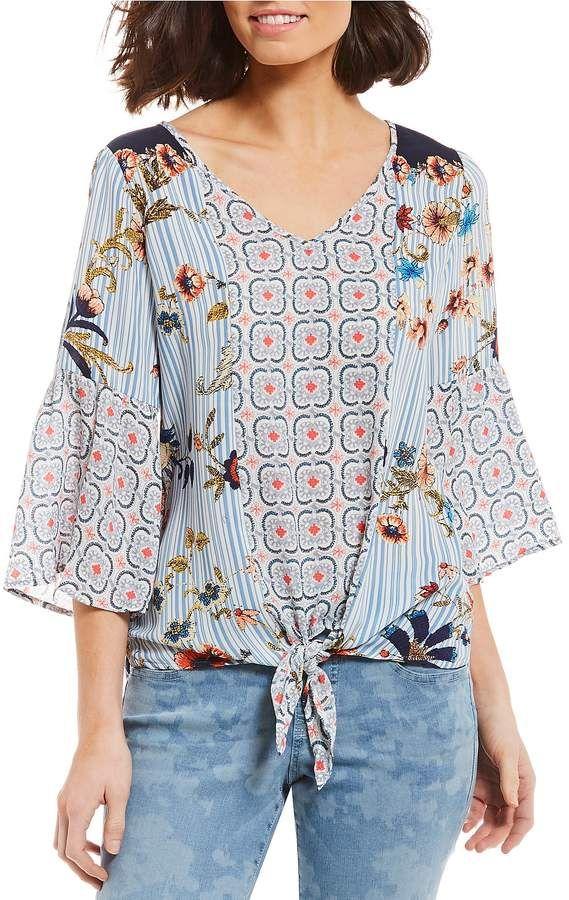 39869b8064d5d5 Figueroa   Flower Petites Giselle 3 4 Sleeve Tie-Front Floral Mixed Print  Peasant Top