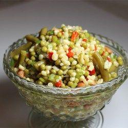 Marinated Salad Allrecipes.com w/o bell pepper. Replace sugar w/ Splenda.