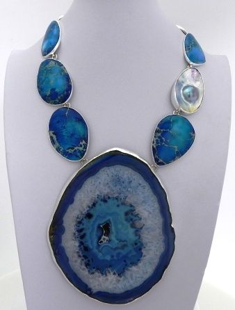 Charles Albert, Blue Agate Slice, Blue Jasper & Mabe Pearl Necklace.