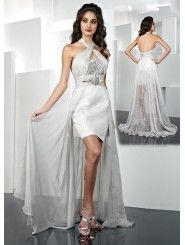 Chiffon Alternating Vertical Pleated Neckline Short Prom Dress