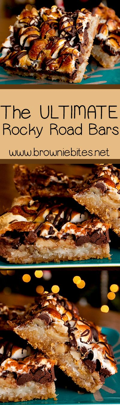 The most insane rocky road bars ever! A crunchy graham cracker crust layered with walnuts, marshmallows, coconut, sweetened condensed milk, toasted marshmallows and a chocolate drizzle.