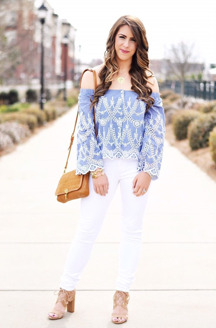 Off-The-Shoulder Baby Blue Top | White Jeans | Lace-Up Block Sandals | Purse | Necklace | Bracelet 1, Bracelet 2 | Watch with This Band …. In the spirit of the Carolina game today (and in the interest of my husband), I'm wanted to share some baby blue outfit inspo for you all… hopefully it ...