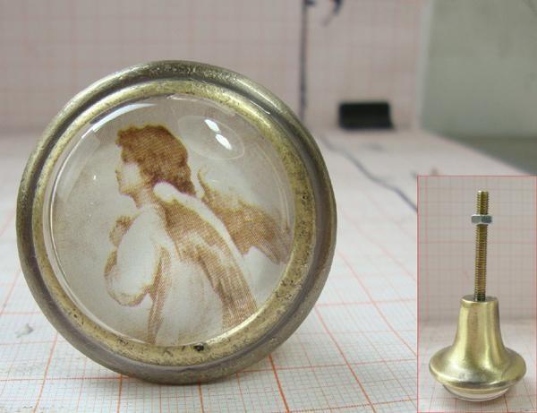 Möbelknöpfe Türknöpfe nostalgisch antik Glas Engel Engelchen