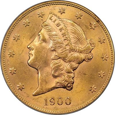 Double Eagle $20 US Coronet Liberty Head Type Gold Coin of 1900.  Designed by James B Longacre, the $20 Liberty Head Double Eagle was produced from 1849 to 1907 with each coin containing just under a full ounce of gold. Coinage was authorized by the Act of March 3, 1849 and only one issue (a pattern) was made that year. That one 1849 specimen currently reside within the Smithsonian.