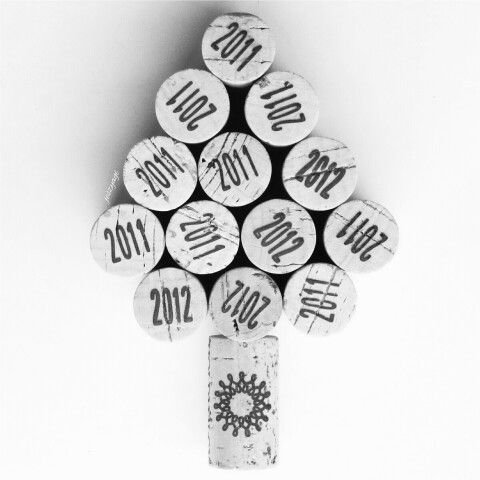 Wine cork photo black and white minimal christmas