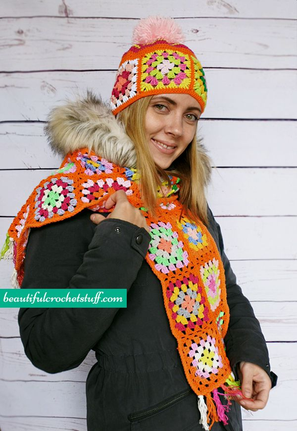 Granny Square Beanie and Scarf Free Pattern | Beautiful Crochet Stuff