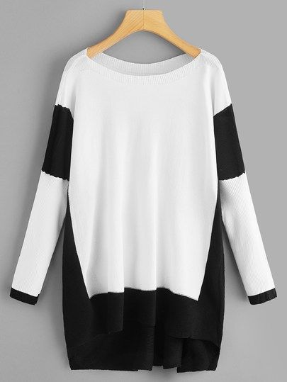 b50f7bb08b Plus High Low Contrast Panel Sweater in 2019