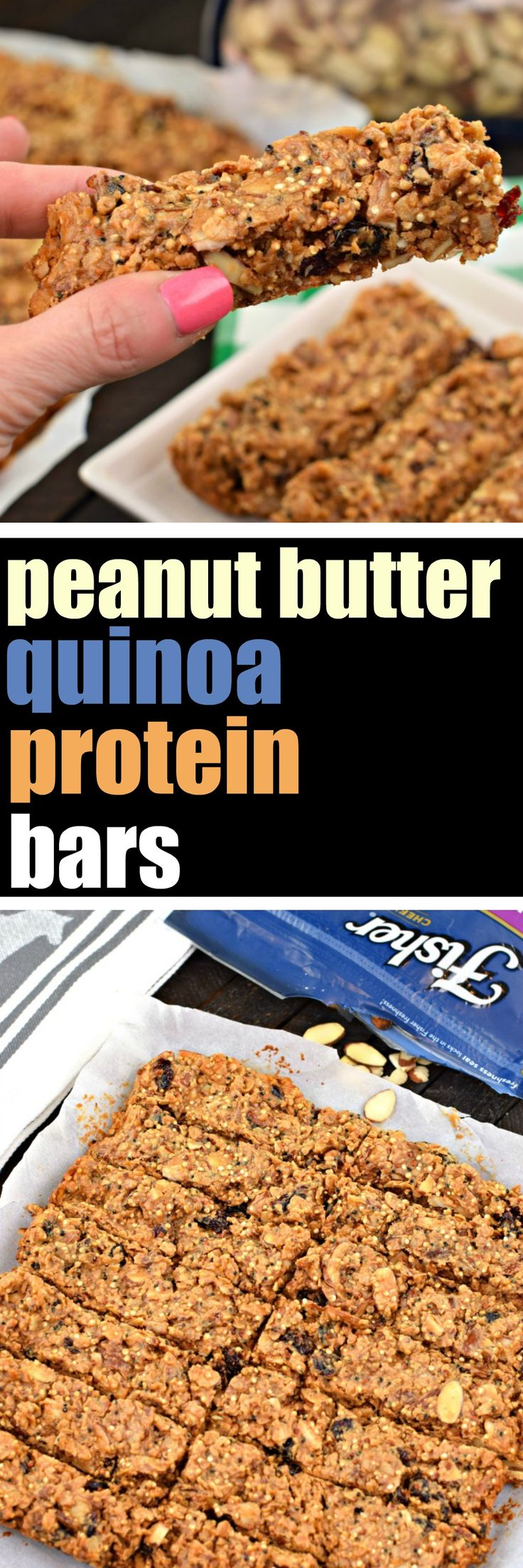 Chewy and nutty, these protein packed Peanut Butter Quinoa Protein Bars are the perfect post workout snack or breakfast on the go! Packed with flavor, and heart healthy almonds, you'll feel great choosing this as a snack or meal! #thinkfisher #hearthealth