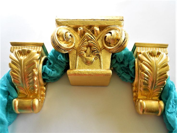 "7 "" x 4.5"", Curtain Rod Holders, Set of 3, Curtain Sconces, Curtain Brackets, Distressed Gold Leaf, Drapery Brackets, Drapery Scarf Swags by GoldLeafGirl on Etsy"