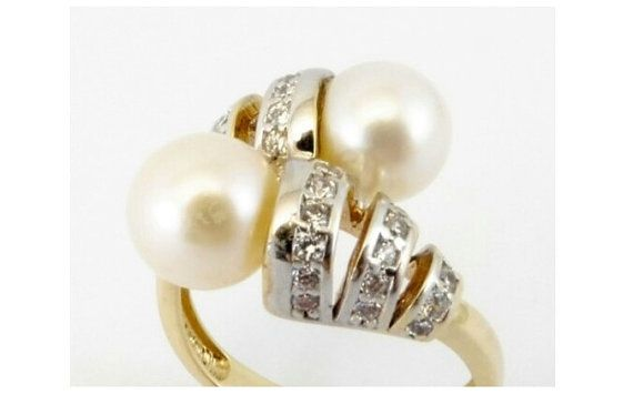 Pearls and Diamonds 9K Gold Engagement/Dress Ring, Bridal Ring, June Birthstone, 0.40 Carat Diamonds FOR SALE $900