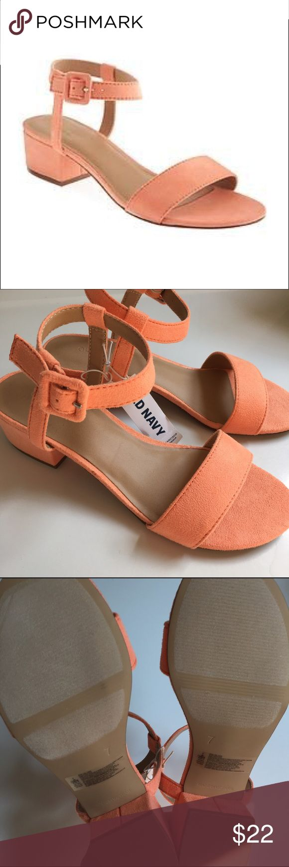 NWT Old Navy Suede Heeled Sandal, Peach, Size 7 Great little heels for summer. Retro look, faux suede. New with tags! Similar to Marais USA sandals. Sold out at Old Navy. Old Navy Shoes