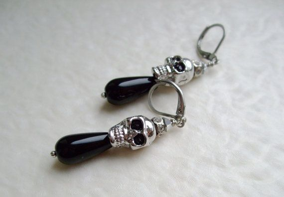 Silver skull with black onyx drop dangle earrings / by DreamyBox