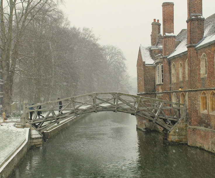 Mathematical bridge of Queens' College. Colder still by the river.