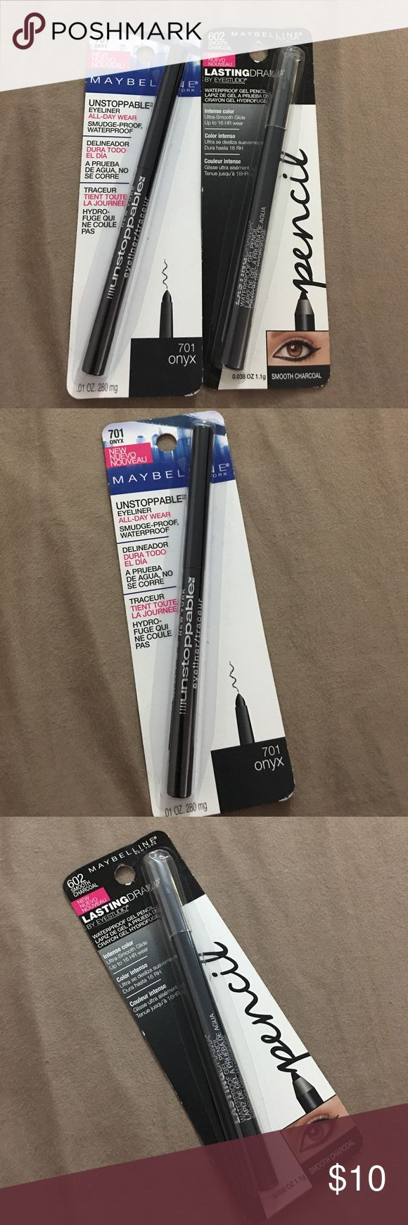 Eyeliners Both Maybelline eyeliner that is waterproof. One is onyx color and the other is smooth charcoal Maybelline Makeup Eyeliner