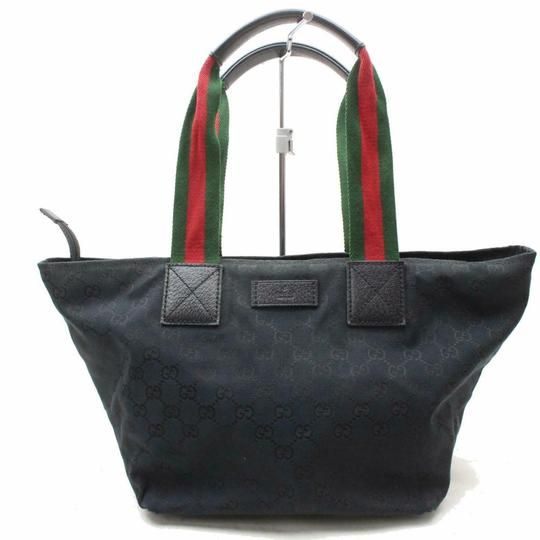 a4211756c Gucci Web Gg Supreme Xl Black Large G Logo Print Canvas and Red and Green  Striped Fabric Handles Leather Tote - Tradesy