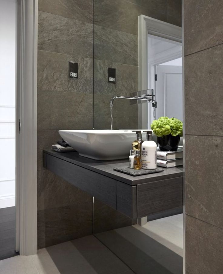 Grey cloakroom with taps from mirror | Contemporary ...