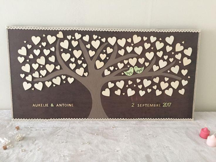 Tableau livre d'or , cœur en bois Livre d'or mariage unique et original : Décorations murales par lesfoliesderoxy