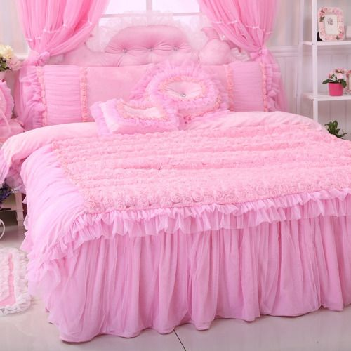 THIS will be your bedroom at Sissy School Girly Girly Girls  Decor  Pink bedding Ruffle