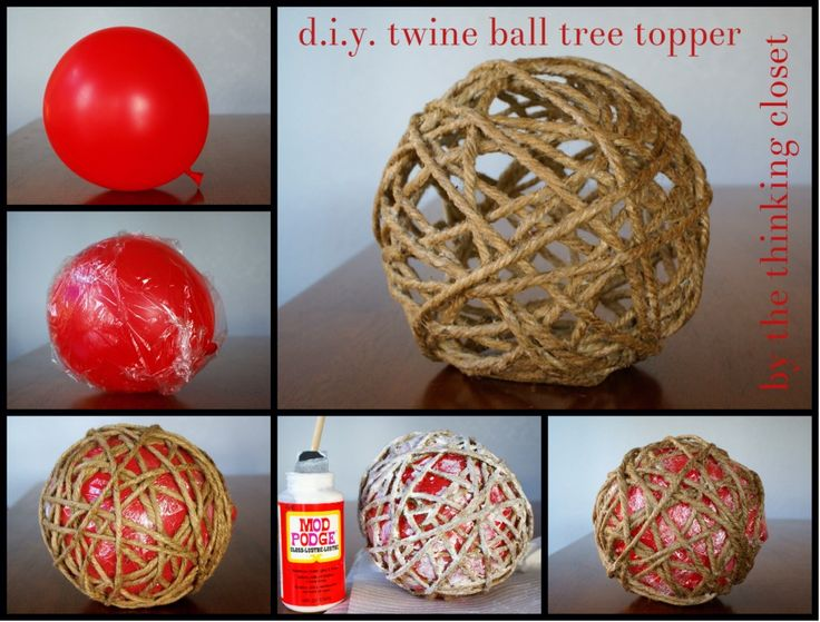 D.I.Y. Twine Ball Tree Topper by The Thinking Closet. Do a smaller version for ornaments