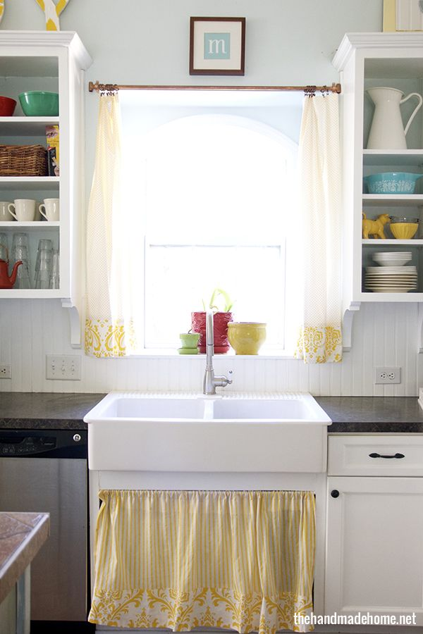 clean_kitchen, curtain instead of cabinet doors under sink