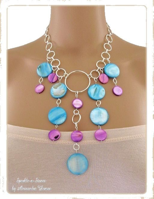 The Cyanea Necklace - This necklace begs to be worn!   Tropical shades of aqua & purple will enhance any eye color and make them pop!  Comprised of swirled aqua round flat shells and grape colored pearlized round shells, this piece is simply stunning on any skintone!