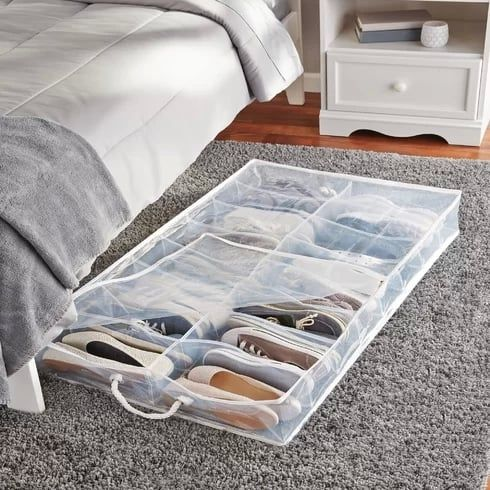 Rebrilliant 2 Compartment Underbed Shoe Storage Diy Storage Bed
