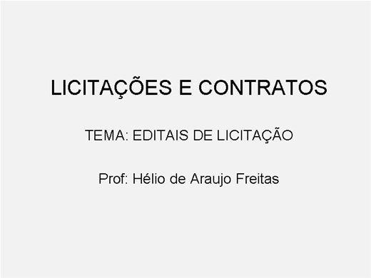 Curso Online de Licitações e Contratos da Administração Pública - Editais de Licitação
