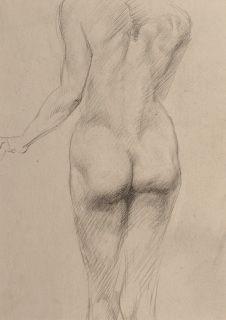 "Female Nude Study From Behind by Julia Dorothy Barnby (20th Century British School) Pencil drawing on paper In a dark cream conservation grade mount (matt) In good condition, as illustrated Drawing: 25.8 x 18.3 cm (visible); mount: 28 x 35.5 cm (11"" x 14"")"