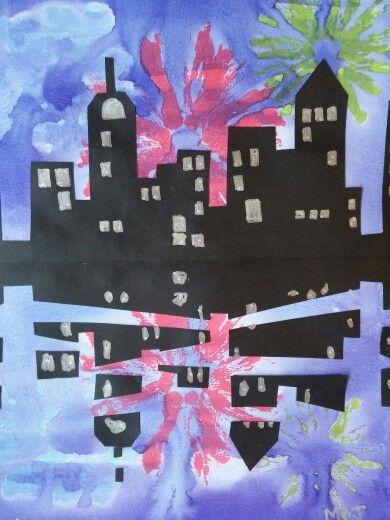 Fireworks Art Project - acrylic paint fireworks, watercolor sky, black paper buildings