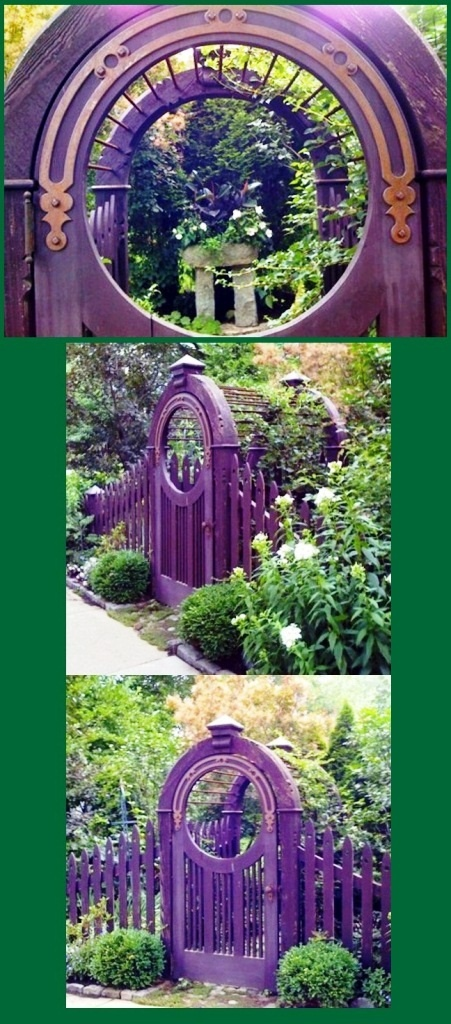 A peak through the round opening in the charming purple gate. Beautiful old gates ~