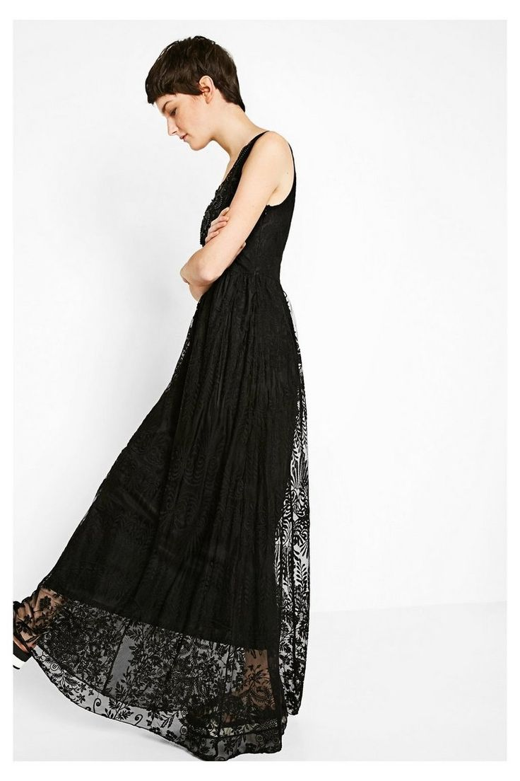 Vestido largo negro con encaje Alicia | Desigual.com B