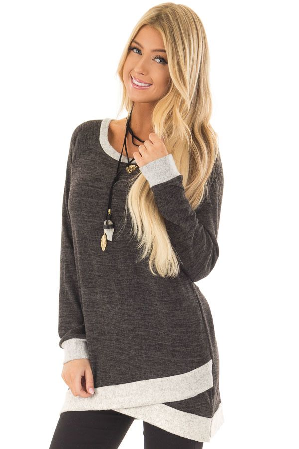 b312dc72406 Lime Lush Boutique - Ash Grey Tunic with Heather Grey Trim Contrast