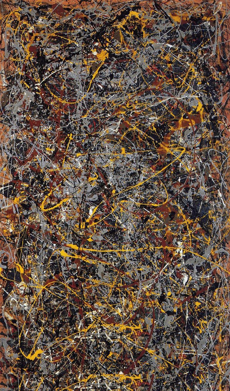 """Jackson Pollock had created his first """" drip"""" painting in 1947, the product of a radical new approach to paint handling. During his lifetime, Pollock enjoyed considerable fame and notoriety, a major artist of his generation. Regarded as reclusive, he had a volatile personality, and struggled with alcoholism for most of his life. In 1945, he married the artist Lee Krasner, who became an important influence on his career and on his legacy."""