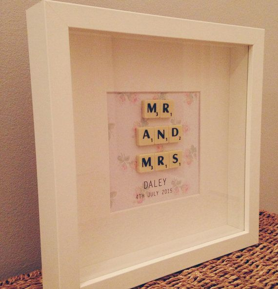 Personalised Mr & Mrs Scrabble frame by yourbridesmade on Etsy, £20.00
